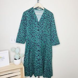 Boden Riviera Printed Shirt Dress Navy & Green